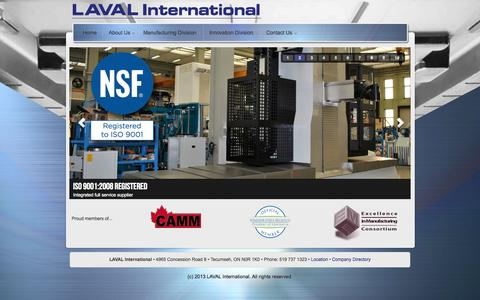 Screenshot of Home Page lavaltool.net - Laval Tool and Mold - captured Oct. 2, 2014