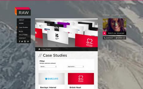 Screenshot of Case Studies Page rawproductions.tv - Case Studies �  RAW Productions - captured Jan. 10, 2016
