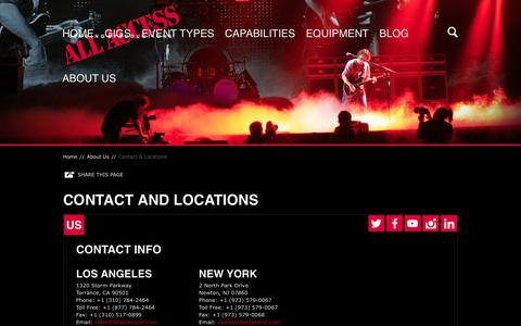 Screenshot of Contact Page Locations Page bandrscenery.com - Contact and Locations | All Access Staging & Productions, Inc. - captured Dec. 6, 2015