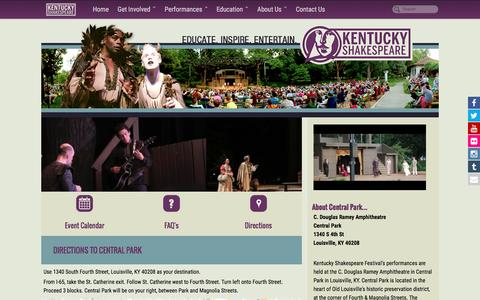 Screenshot of Maps & Directions Page kyshakespeare.com - Directions   Kentucky Shakespeare - captured Nov. 27, 2016