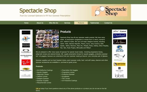 Screenshot of Products Page specshop.net - Spectacle Shop offers quality products for all your optical requirements in Charlottesville, VA. - captured Feb. 15, 2016