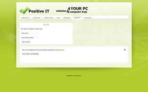 Screenshot of Contact Page positiveit.nl - CONTACT - captured Oct. 9, 2016