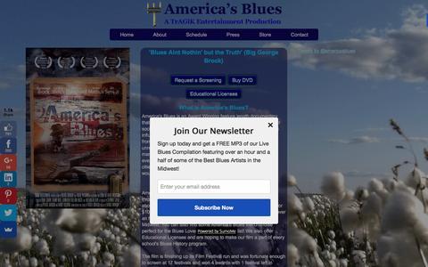 Screenshot of Home Page americasbluesmovie.com - America's Blues - captured Feb. 6, 2016