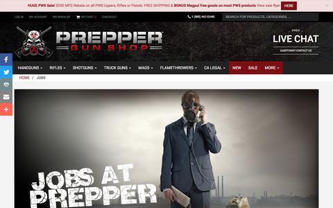 Screenshot of Jobs Page preppergunshop.com - Jobs | Prepper Gun Shop - captured June 28, 2017