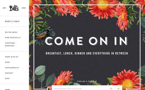 Screenshot of Home Page bills-website.co.uk - Bill's Restaurant - Breakfast, Lunch and Dinner - captured Sept. 22, 2018