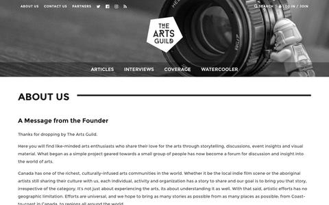 Screenshot of About Page theartsguild.com - About Us - The Arts Guild - captured Dec. 22, 2016