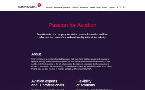 Screenshot of About Page smart4aviation.aero - Company - Smart4Aviation - captured Sept. 21, 2018