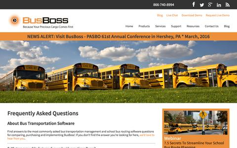 Screenshot of FAQ Page busboss.com - Frequently Asked Questions About Bus Transportation Software - captured Feb. 14, 2016