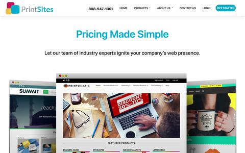 Screenshot of Pricing Page printsites.com - PrintSites | Pricing Made Simple Web-To-Print - captured Jan. 6, 2019