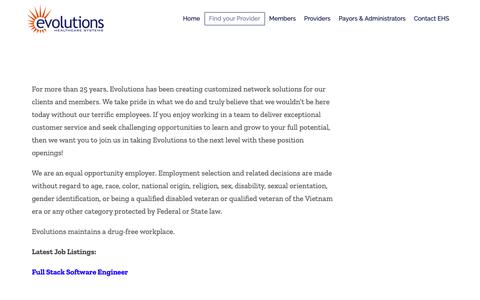 Screenshot of Jobs Page ehsppo.com - Careers – Evolutions Healthcare Systems - captured Sept. 29, 2018