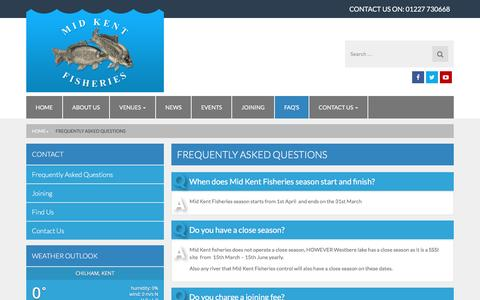 Screenshot of FAQ Page midkentfisheries.co.uk - Frequently Asked Questions - Mid Kent Fisheries - captured Jan. 10, 2016