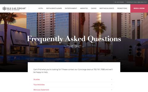 Screenshot of FAQ Page slslasvegas.com - Frequently Asked Questions - SLS Las Vegas - captured July 18, 2018