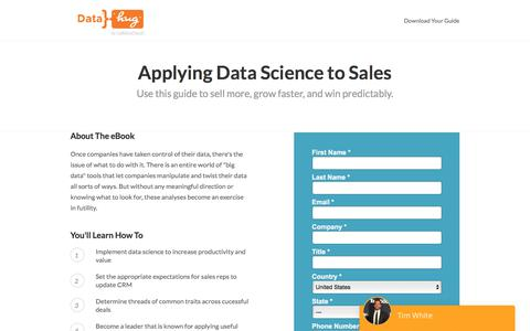 Screenshot of Landing Page datahug.com - Applying Data Science to Sales | Datahug - captured Nov. 12, 2019