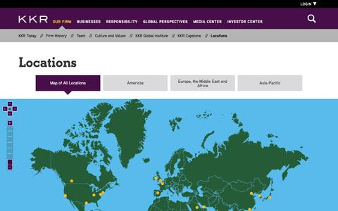 Screenshot of Contact Page Locations Page kkr.com - Locations | KKR - captured Oct. 23, 2014
