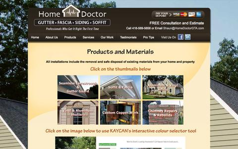 Screenshot of Products Page homedoctorgta.com - Products - captured Sept. 30, 2014