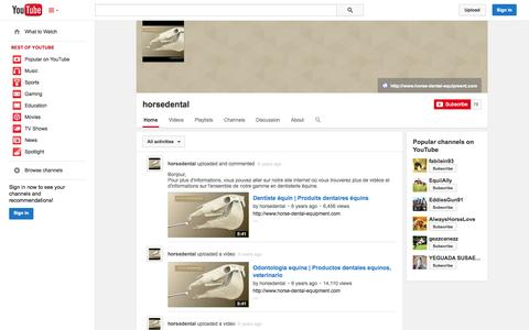 Screenshot of YouTube Page youtube.com - horsedental  - YouTube - captured Oct. 23, 2014