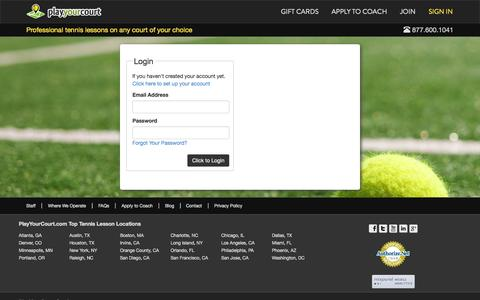 Screenshot of Login Page playyourcourt.com - Login to your PlayYourCourt.com Account | Kids, Beginner, & Adult Private Tennis Lessons - captured Nov. 2, 2014