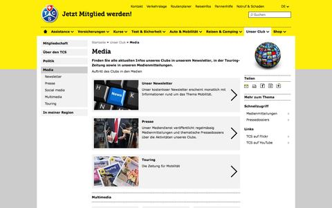 Screenshot of Press Page tcs.ch - Media - TCS Schweiz - captured Sept. 23, 2014