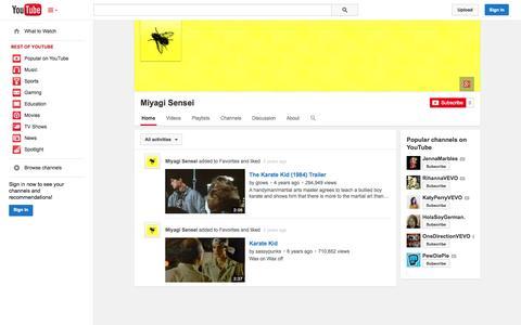 Screenshot of YouTube Page youtube.com - Miyagi Sensei  - YouTube - captured Nov. 4, 2014