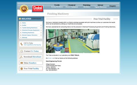 Screenshot of Trial Page dalalengineering.com - Dalal Engineering : Free Trial Facility, Dalal Engineering manufactures vibratory finishing, centrifugal finishing, disc finishing, and polishing machines for deburring, polishing, descaling, and surface improvement on metallic and non-metallic compo - captured Oct. 5, 2014