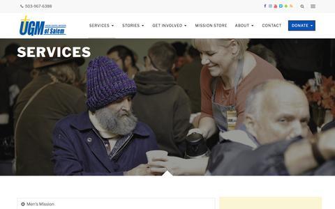 Screenshot of Services Page ugmsalem.org - Services - Union Gospel Mission - captured Oct. 24, 2017