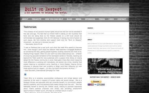 Screenshot of Testimonials Page builtonrespect.com - Built On Respect  » Testimonials - captured Sept. 30, 2014