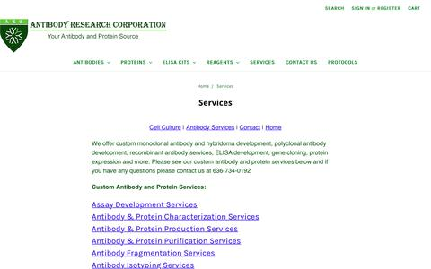 Screenshot of Services Page antibodyresearch.com - Custom Monoclonal and Polyclonal Antibody Services - captured Oct. 8, 2017