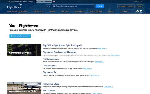 Screenshot of Products Page flightaware.com - Commercial Services ✈ FlightAware - captured Dec. 2, 2015