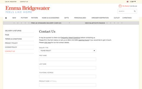 Screenshot of Contact Page emmabridgewater.co.uk - Contact Us at Emma Bridgewater - captured Oct. 28, 2014