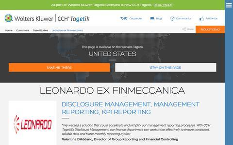Screenshot of Case Studies Page tagetik.com - Case Study: Leonardo ex Finmeccanica | CCH Tagetik - captured July 5, 2017