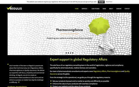Screenshot of Home Page regulis.com - Regulatory Consulting Services for Pharma | Regulis Consulting - captured Dec. 14, 2016