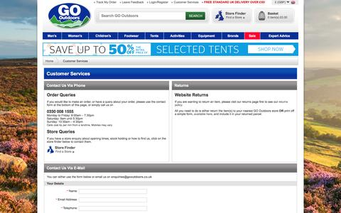 Screenshot of Contact Page gooutdoors.co.uk - GO Outdoors | Tents & Camping Equipment | Outdoor Clothing & Waterproof Clothing - captured July 3, 2016