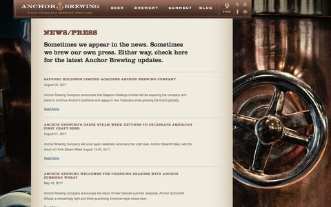 Screenshot of Press Page anchorbrewing.com - California Craft Brewery News | Anchor Brewing - captured Oct. 8, 2017