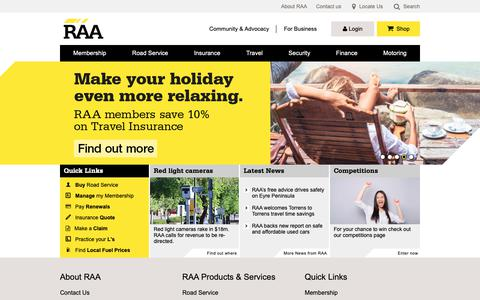 Screenshot of Home Page raa.com.au - RAA | Royal Automobile Association of South Australia - captured Sept. 28, 2018