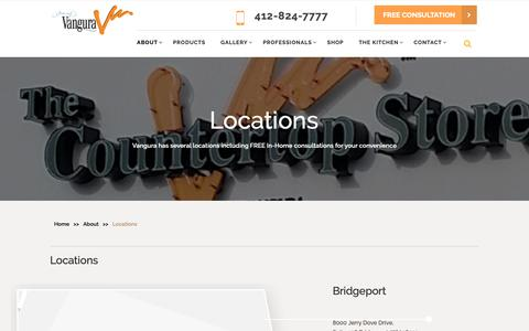 Screenshot of Locations Page vangura.com - Reach Our Multiple Locations | Contact Our Countertop Services - captured Dec. 20, 2018