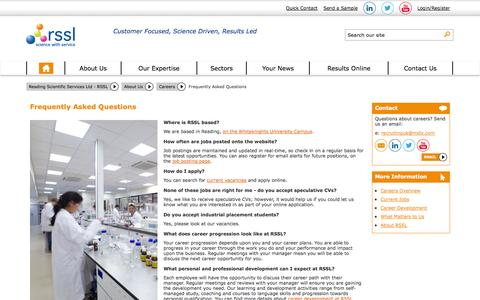 Screenshot of FAQ Page rssl.com - Frequently Asked Questions - Careers | RSSL - captured Nov. 3, 2014