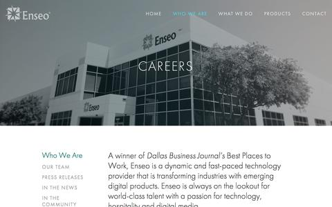 Screenshot of Jobs Page enseo.com - Careers — Enseo - captured July 14, 2016