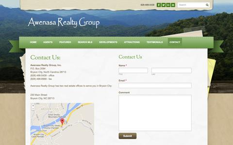 Screenshot of Locations Page awenasarealtygroup.com - Bryson City Map and Contact of Real Estate Agent and Agency in Western North Carolina - Real Estate in the Great Smoky Mountains and Bryson City in Western North Carolina - captured Sept. 30, 2014