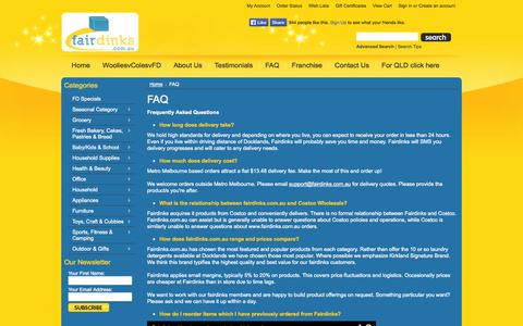 Screenshot of FAQ Page fairdinks.com.au - Frequently Asked Questions | Fairdinks - captured Oct. 6, 2014