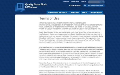 Screenshot of Terms Page qualityglassblock.com - Terms of Use | Quality Glass Block and Window - captured Oct. 3, 2014