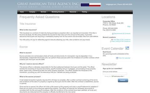 Screenshot of FAQ Page azgat.com - Great American Title Agency - FAQs - captured Nov. 14, 2016