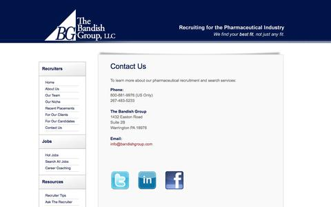 Screenshot of Contact Page bandishgroup.com - Contact The Bandish Group, Recruiting for the Pharmaceutical Industry - captured Oct. 26, 2014