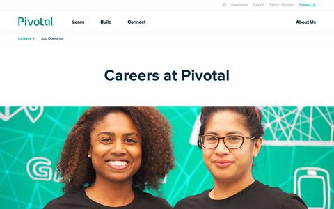 Screenshot of Jobs Page pivotal.io - Careers | Pivotal - captured April 24, 2018