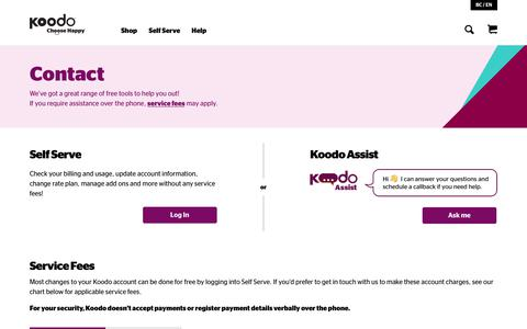 Screenshot of Contact Page koodomobile.com - Contact Us | Koodo Mobile - captured May 11, 2019