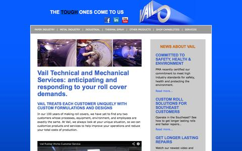 Screenshot of Services Page vailrubber.com - Vail Rubber Works, Inc. - Services - captured Oct. 7, 2014