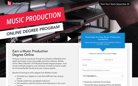 Screenshot of Landing Page berklee.edu - Earn a Degree Online with Berklee - captured Sept. 11, 2017