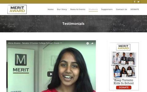 Screenshot of Testimonials Page meritaward.ca - Testimonials – The Merit Award Bursary Program - captured Oct. 17, 2018