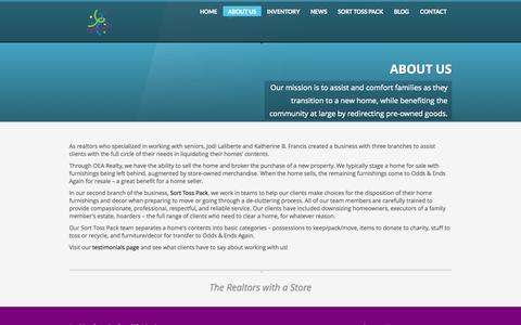Screenshot of About Page Services Page oddsandendsagain.com - Odds & Ends Again | ABOUT US - captured Oct. 26, 2014