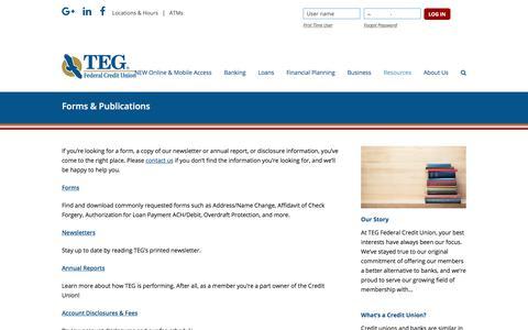 Screenshot of tegfcu.com - Forms & Publications – TEG Federal Credit Union - captured Dec. 2, 2017