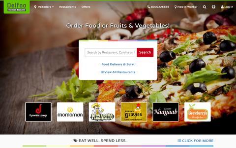 Screenshot of Home Page delfoo.com - Delfoo - Food Delivery Vadodara, Food Delivery Surat, Home Delivery - captured Oct. 1, 2015